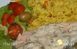 Лосось с рисом и овощами в мультиварке