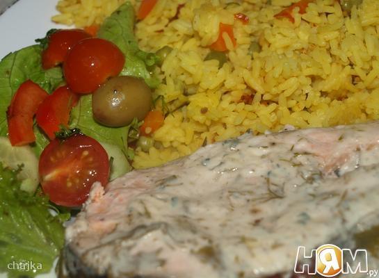 Рецепт Лосось с рисом и овощами в мультиварке