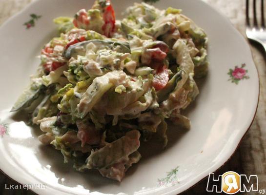 Рецепт Овощной салат с курицей
