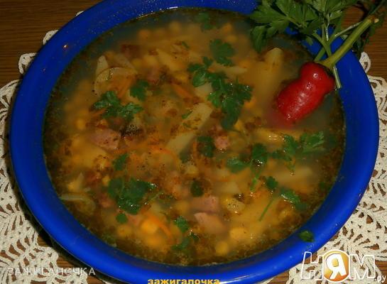 Рецепт Кукурузно-гороховый суп