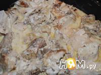 Приготовление рецепта Банош с курицей в сметанном соусе: шаг 3