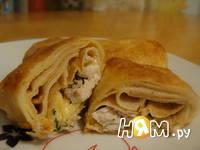Приготовление блинчиков с начинкой из курицы: шаг 7