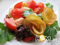 Приготовление салата с семгой и жареным картофелем: шаг 8