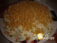 Приготовление слоеного салата с курицей и кукурузой: шаг 6