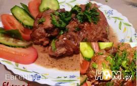 Кролик тушеный в соево-сливочном соусе