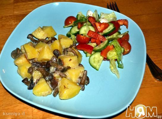 Картофель с грибами в мультиварке Panasonic-18
