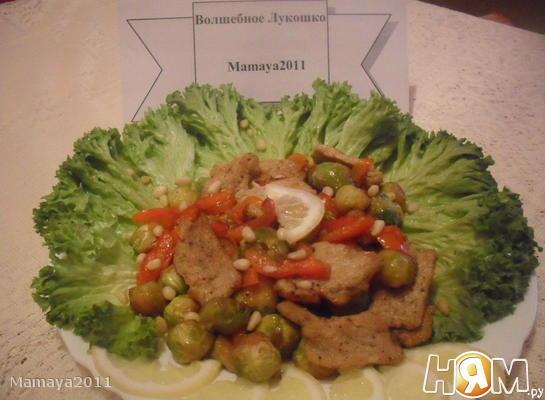 Рецепт Брюссельская капуста со свининой и сладким перцем