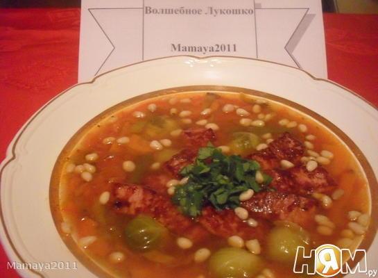 Рецепт Томатный суп с брюссельской капустой и беконом