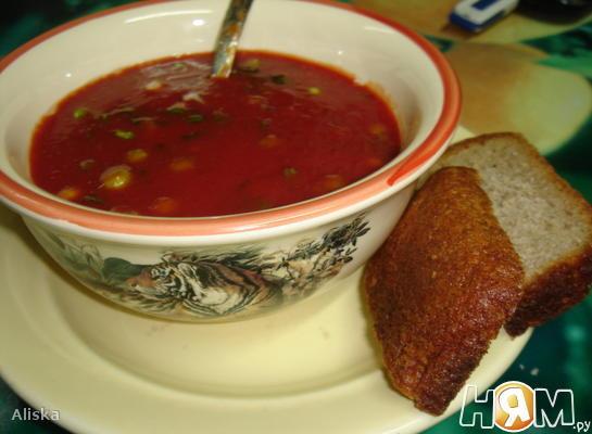 Томатно-гороховый холодный суп