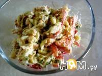 Приготовление мясного салата с макаронами: шаг 5