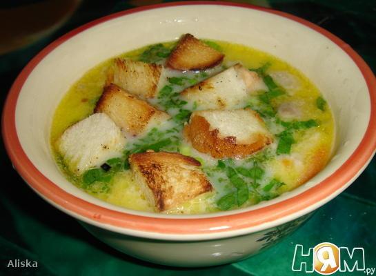 Сырный суп по французски с крутонами