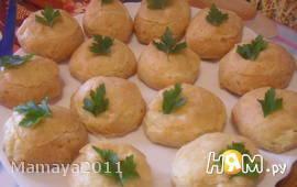 Заварные булочки с сыром и ветчиной