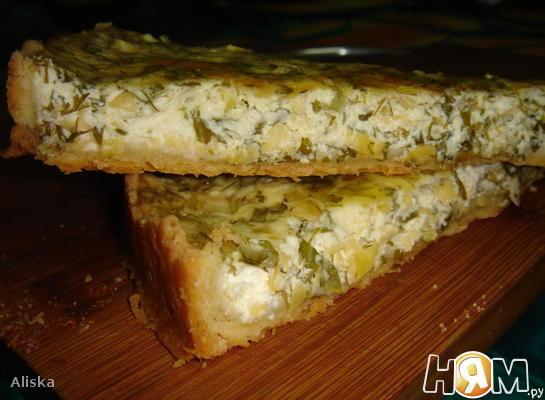 Творожно-сырный пирог с зеленью