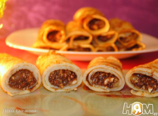 Рецепт Блины на коньяке с ореховой начинкой