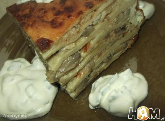 Рецепт Блинный торт с шампиньонами