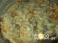Приготовление блинного торта с грибами: шаг 6