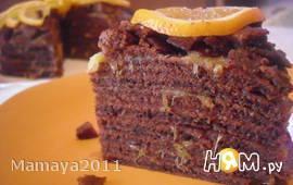 Торт из шоколадных блинов с апельсиновой пропиткой