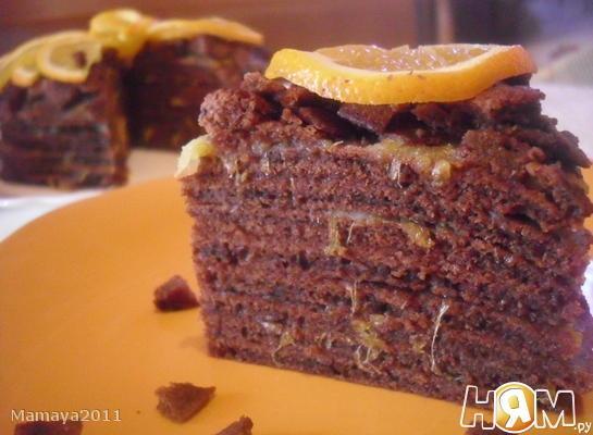 Рецепт Торт из шоколадных блинов с апельсиновой пропиткой
