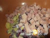 Приготовление салата Мужской каприз с ветчиной: шаг 3