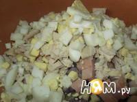 Приготовление салата Мужской каприз с ветчиной: шаг 5