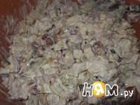 Приготовление салата Мужской каприз с ветчиной: шаг 7
