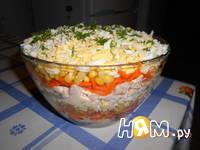 Приготовление слоеного салата с морковью по-корейски: шаг 5