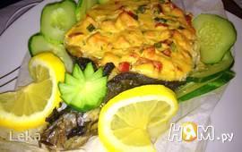 Сибас с творожно - сырным суфле и семгой