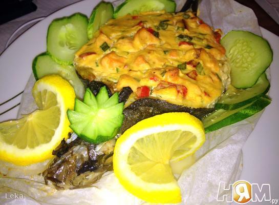 Рецепт Сибас с творожно - сырным суфле и семгой
