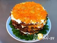 Приготовление печеночного торта с морковью: шаг 6