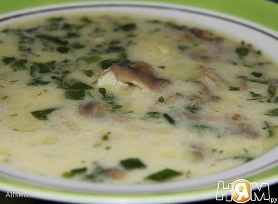 Суп из шампиньонов и шпината