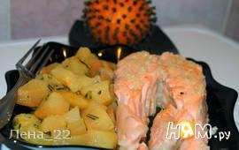 Семга с чесночным маслом и грушевым гарниром