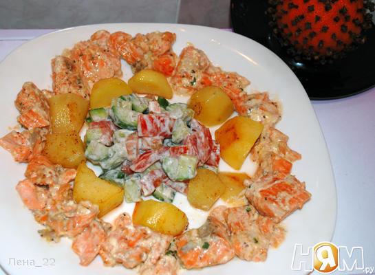 Рецепт Лосось фламбе в сливочно-горчичном соусе