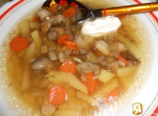 Постный  суп с белыми грибами