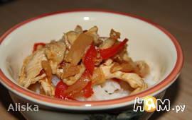 Стир фрай из курицы с перцем и ананасом