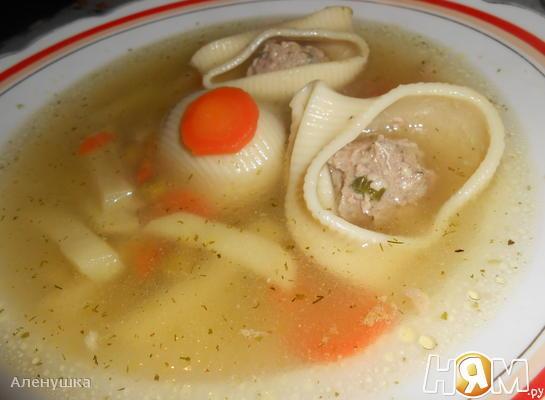 Суп с фаршированными макаронами