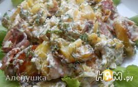 Теплый салат с запеченным картофелем