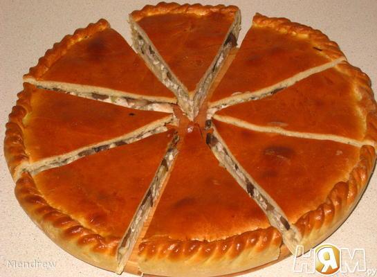 Пирог с курицей и зелёным луком