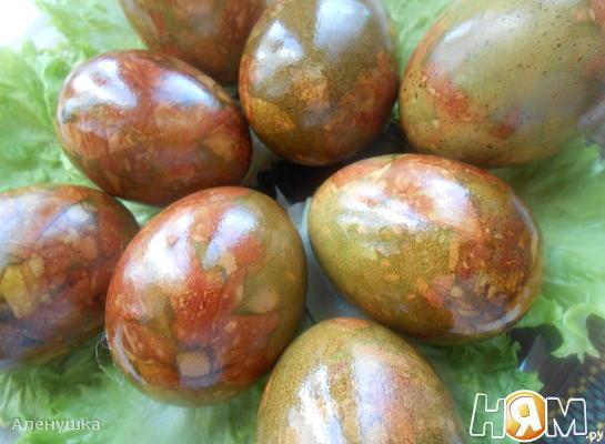 """"""" Мраморные """" яйца на Пасху"""