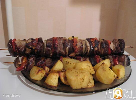 Шашлык по-кавказски с овощами