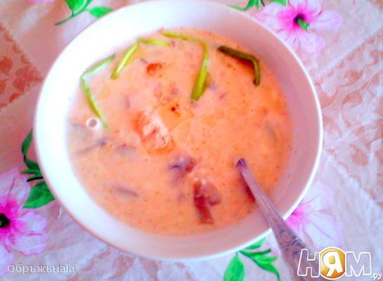 Рецепт Сливочно-сырный крем-суп с грибами и курочкой
