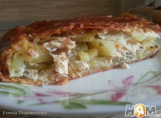 Пирог с картошкой и сливочной курочкой