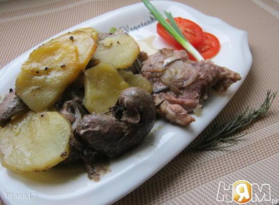 Рецепт Горячий горшочек (баранина с картофелем и почками)