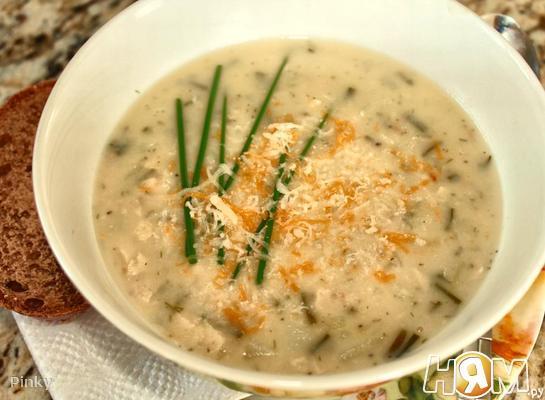 Суп с печеным картофелем и сыром