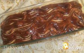 Кокосовый пирог со сливочно-шоколадной глазурью