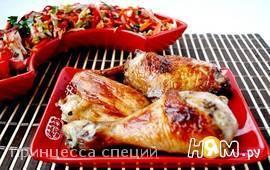 Запечённая курица+острый овощной салат