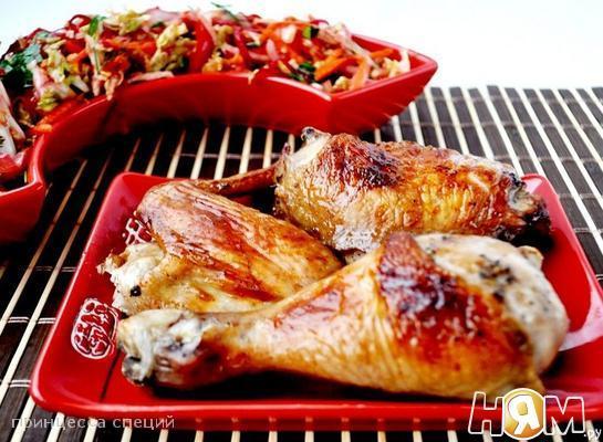 Рецепт Запечённая курица+острый овощной салат