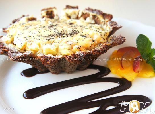 Рецепт Творожно-яблочный пудинг в ржаной корзиночке