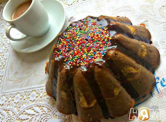 Рецепт Творожно-бананово-шоколадный пирог