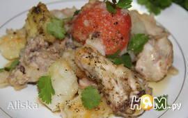 Жареная курица с картошкой и помидорами