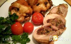 Куриная голень, фаршированная грибами